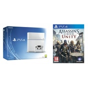 PlayStation 4 (500GB) White Console + Assassin's Creed Unity