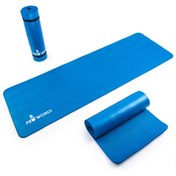 Proworks Large 10mm Thick Padded Yoga Mat With Carry Handle in Blue
