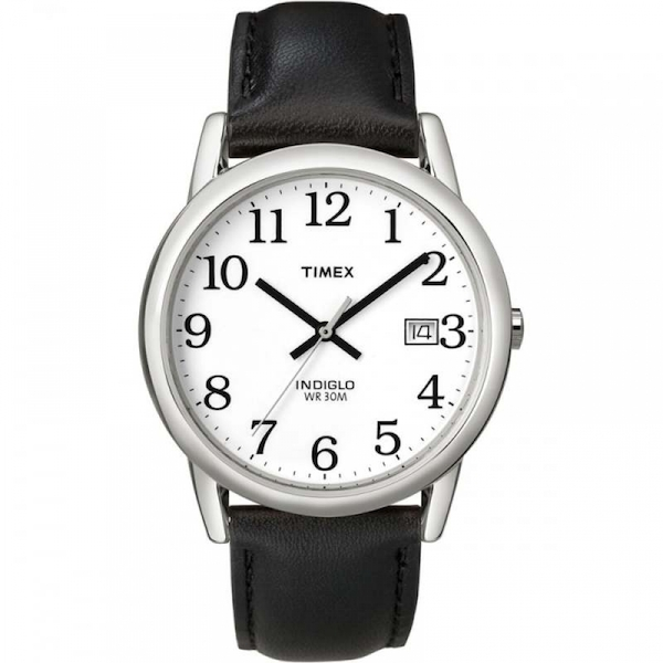 Timex T2H281 Mens Easy Reader Watch with Date Black/Silver
