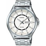 Casio Mens Analogue Watch Stainless Steel with White Dial