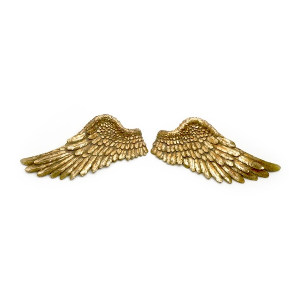 Set of 2 Golden Wings Ornament by Heaven Sends