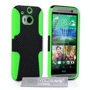 YouSave Accessories HTC One M8 Tough Mesh Combo Case - Green-Black