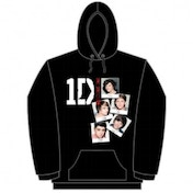 One Direction Photo Stack Black Ladies Hooded Top: Large
