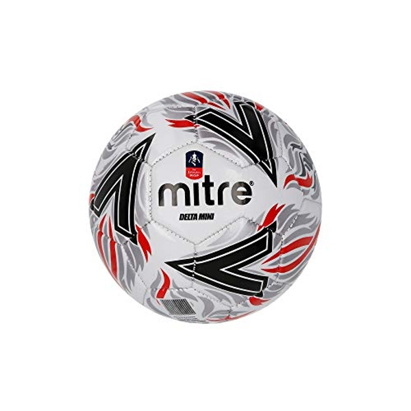 Mitre Kids' Delta Mini Replica FA Cup Football, Black/Red, Small