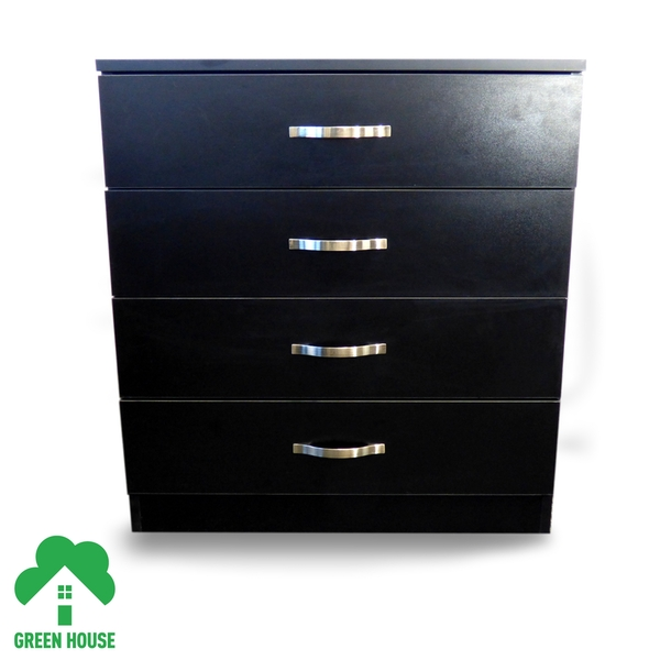 4 Chest Of Drawers Black Bedside Cabinet Dressing Table Bedroom Furniture Wooden Green House