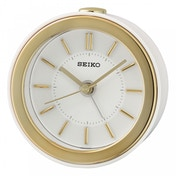 Seiko QHE156W Beep Alarm Clock with LED Flashing Alarm White