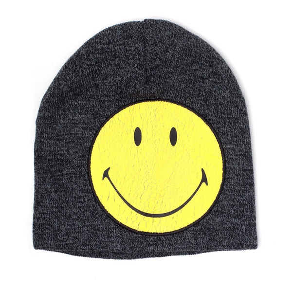 Smiley - Original Smiley Cracked Unisex Beanies Beanie - Grey