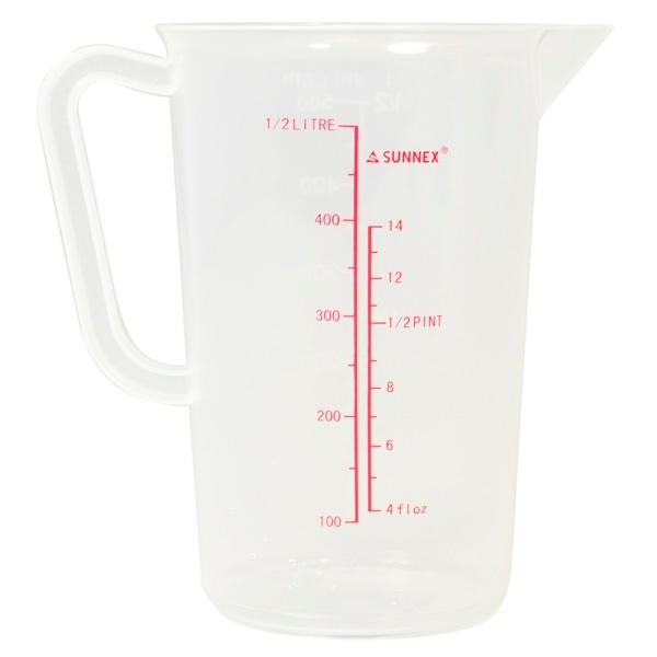 Sunnex Polypropylene Clear Measuring Jug 0.5L