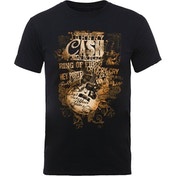 Johnny Cash - Guitar Song Titles Men's XX-Large T-Shirt - Black