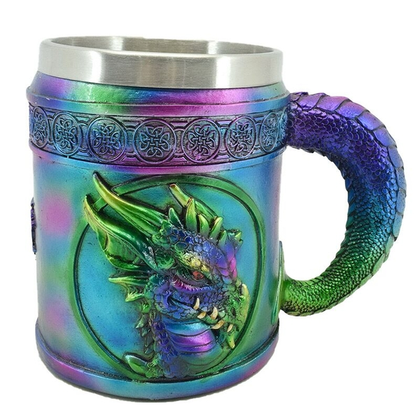 Metallic Rainbow Dragon Decorative Tankard