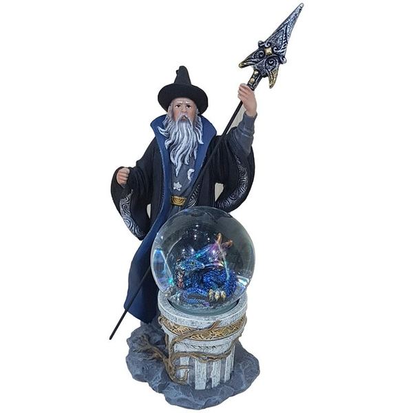 Spirit of the Sorcerer - Ice Dragon Wizard Snow Globe