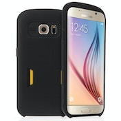 Caseflex Samsung Galaxy S6 Matt Finish Hard Case With Card Slots - Black