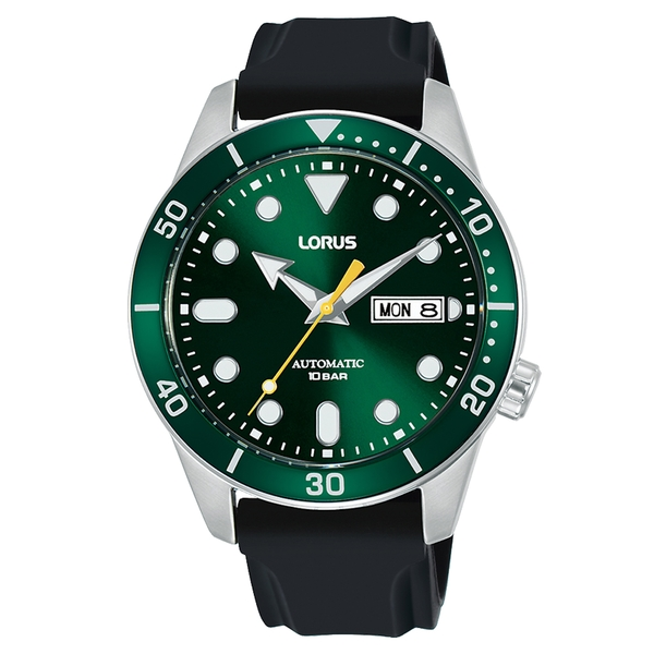 Lorus RL455AX9 Mens Green Dial Automatic Black Leather Strap Watch