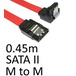 Locking SATA II (M) to Right-Angled Locking SATA II (M) 0.45m Red OEM Internal Data Cable - Image 2