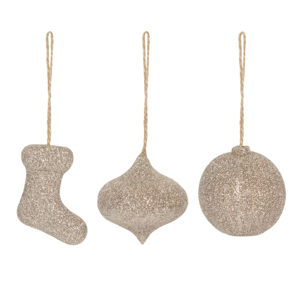 Set of 3 Deck The Halls Sparkle Decorations