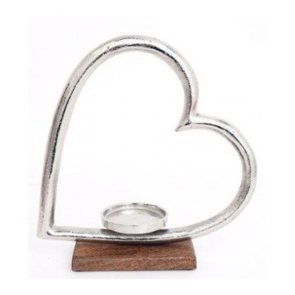 Wooden Based Heart Tealight Holder