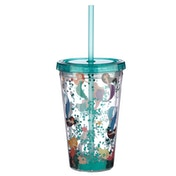 Cute Mermaid Double Walled Cup with Lid and Straw