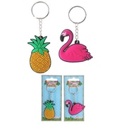 Flamingo and Pineapple (Pack Of 6) Fun PVC Keyring