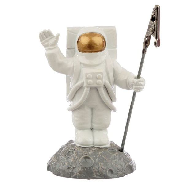 Astronaut on the Moon Memo Postcard Clip Holder