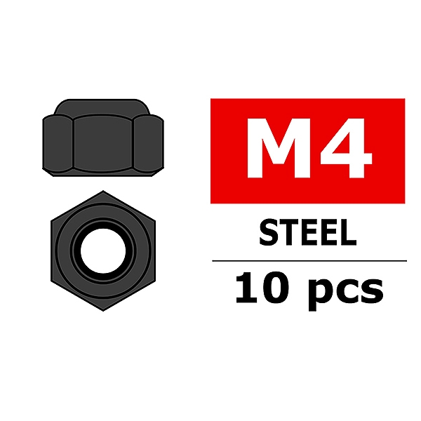 Corally Steel Nylstop Nut M4 Black Coated 10 Pcs