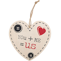 You   Me = Us Hanging Heart Sign