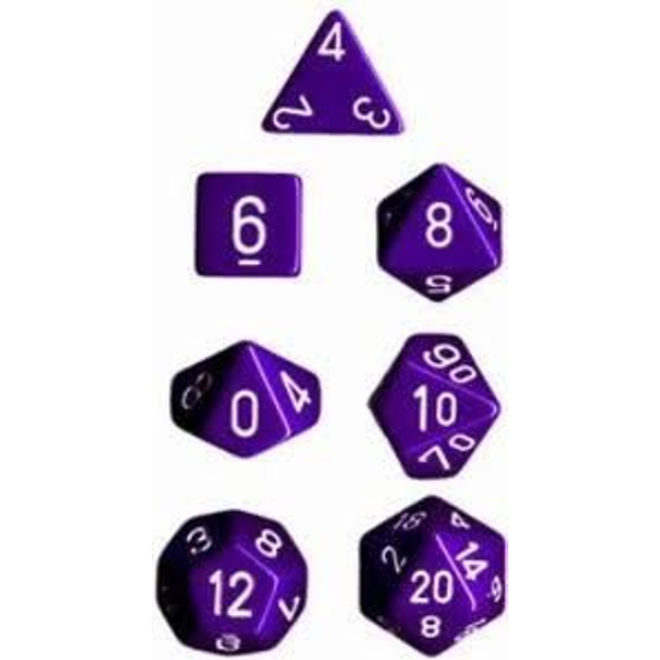 Chessex Opaque Poly 7 Dice Set - Purple/White