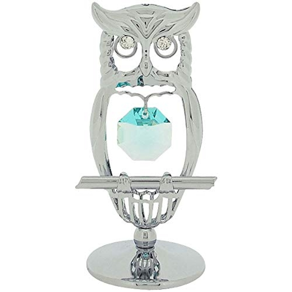 Crystocraft Chrome Plated Owl - Crystals From Swarovski