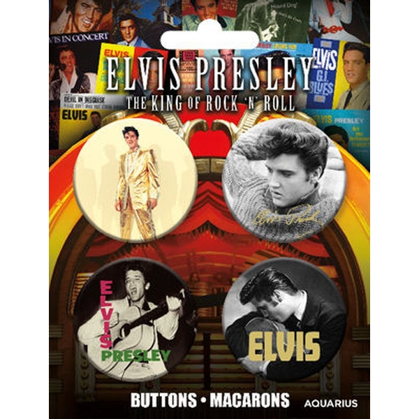 Elvis Buttons 4 Pack