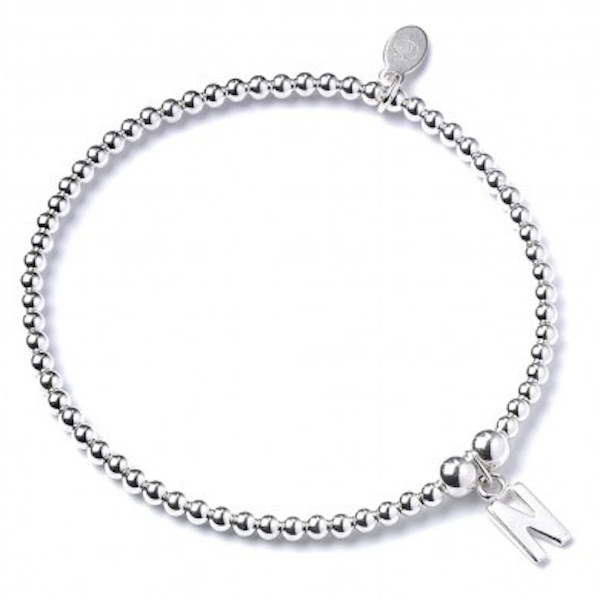 Initial M Charm with Sterling Silver Ball Bead Bracelet