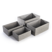 Paper & Cotton Makeup Closet Storage Boxes - Set of 4 | M&W Grey