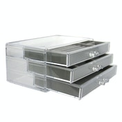 3 Drawer Acrylic Jewellery Box | Pukkr Grey