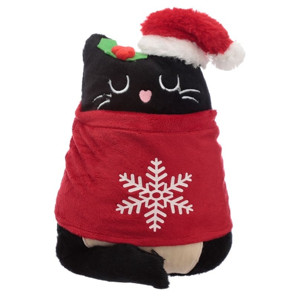 Plush Feline Festive Cat Christmas Doorstop