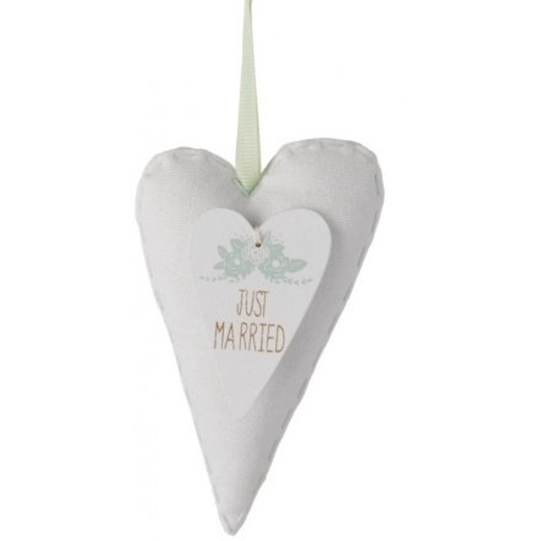 Just Married Fabric Hanging Heart
