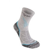 Bridgedale Women's CoolFusion Run Qwik Socks, Grey/Turquoise - Medium