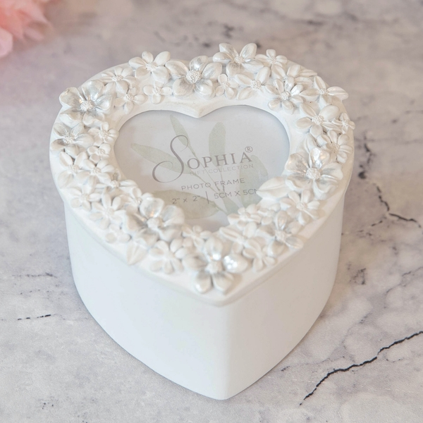 White Floral Resin Heart Shaped Trinket Box with Frame Lid