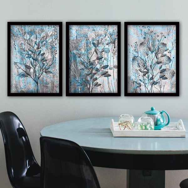 3SC71 Multicolor Decorative Framed Painting (3 Pieces)