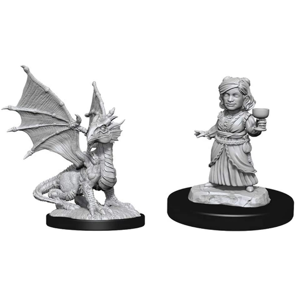 D&D Nolzur's Marvelous Miniatures (W13) Silver Dragon Wyrmling & Female Halfling