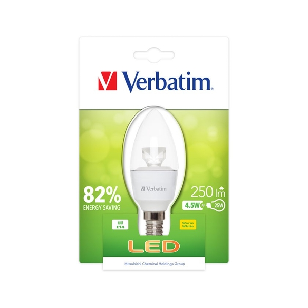 Verbatim Home 4.5w Frosted Candle E14 2700k 350Lm