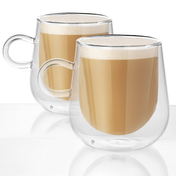 Double Walled 275ml Coffee Glasses with Handles - Set of 2 | M&W