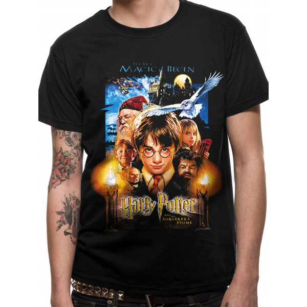 d9c147ee7 Harry Potter - Sorcerers Stone Movie Poster Men's XX-Large T-Shirt - Black
