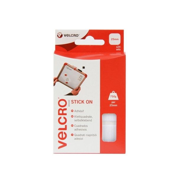 VELCRO Brand Stick On Squares 25mm White 24 Sets