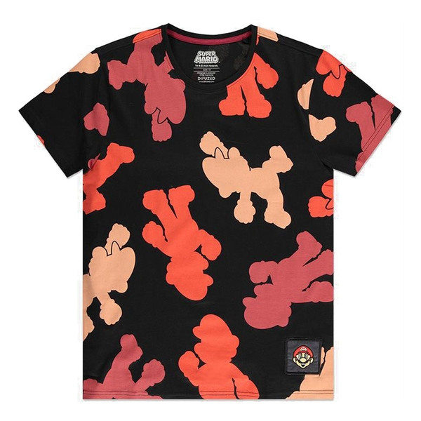 Nintendo - Super Mario Bros. Mario Colour Silhouette All-Over Print Men's Large T-Shirt (Black)