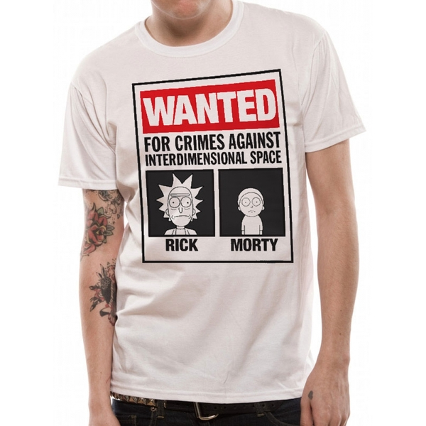 Rick And Morty - Wanted Men's X-Large T-Shirt - White