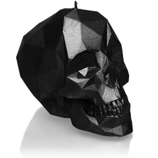 Black Metallic Large Low Poly Skull