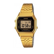 Casio Ladies Black Dial Gold Plated Digital Watch