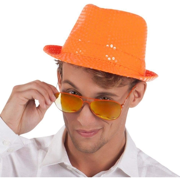 Popstar Spangles Adult Hat Orange