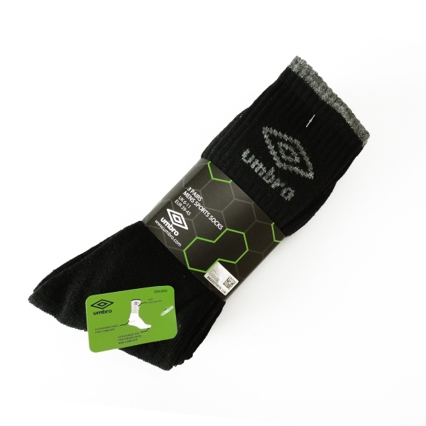 667c601d3641 Umbro Crew Socks 3 Pack Black - nzgameshop.com