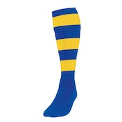 Precision Hooped Football Socks Large Boys Royal/Yellow