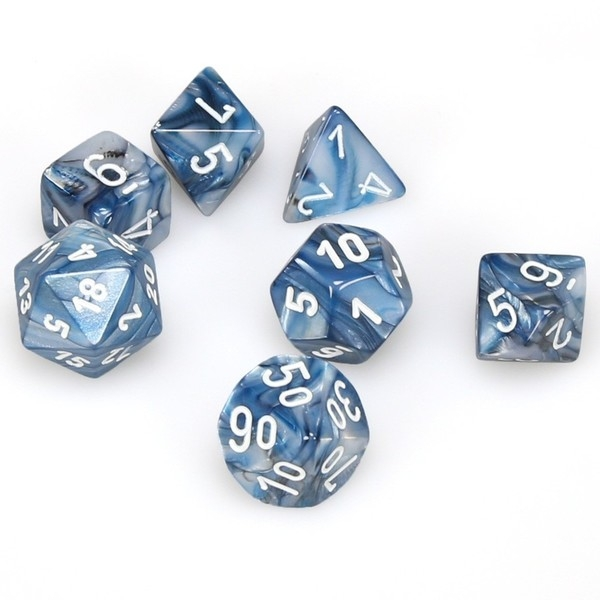 Chessex Poly 7 Dice Set: Lustrous Slate w/white