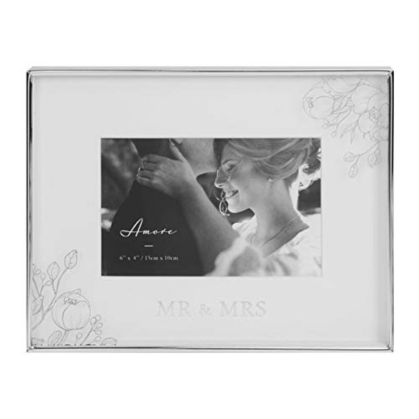 """6"""" x 4"""" - AMORE BY JULIANA? Silver Floral Frame - Mr & Mrs"""